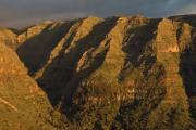 Last sunbeams colouring the upper part of Valle Gran Rey. La Gomera, Canary islands