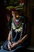 Shaman of Siona indigenous people, Amazon tropical rainforest, Cuyabeno national park, Ecuador, July 2010