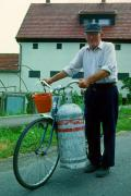 Man and bike, Matra Mountains, Hungary, July 1992